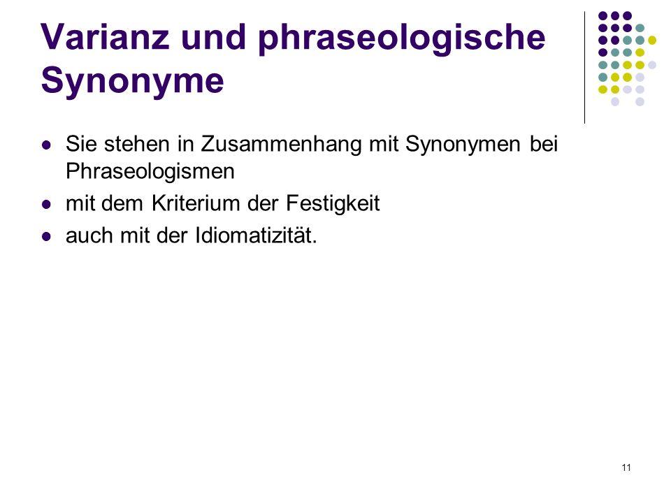 Varianz und phraseologische Synonyme