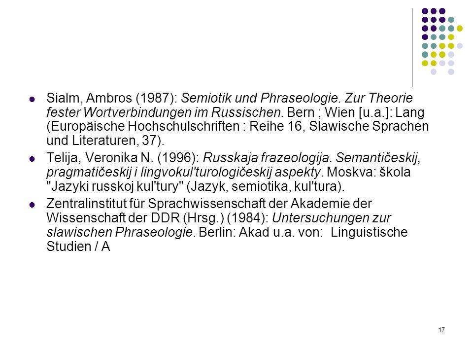 Sialm, Ambros (1987): Semiotik und Phraseologie