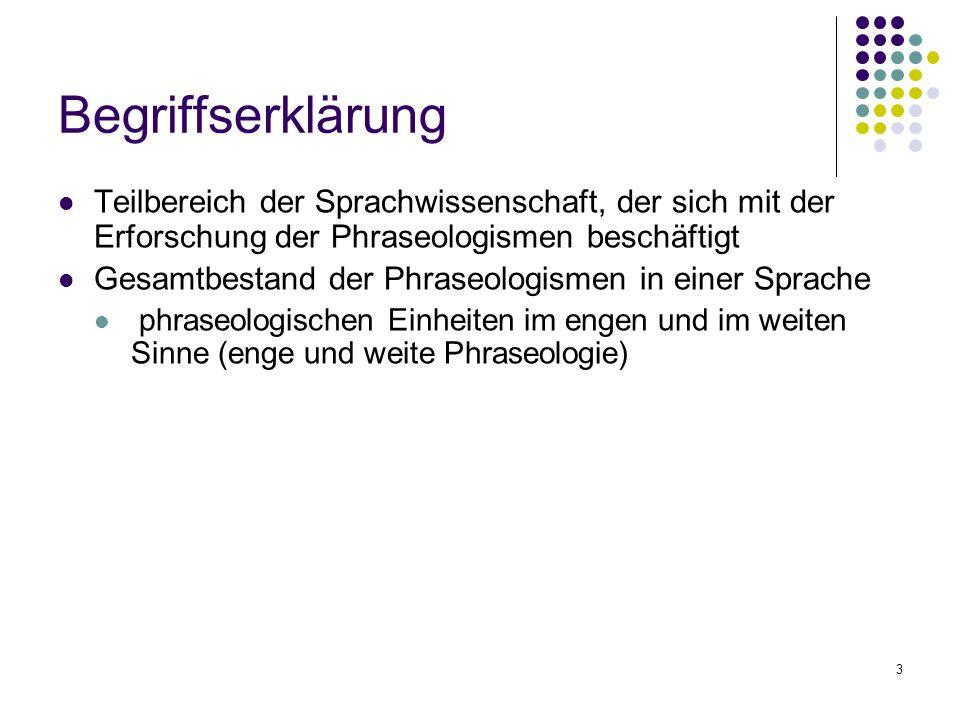 Begriffserklärung Teilbereich der Sprachwissenschaft, der sich mit der Erforschung der Phraseologismen beschäftigt.