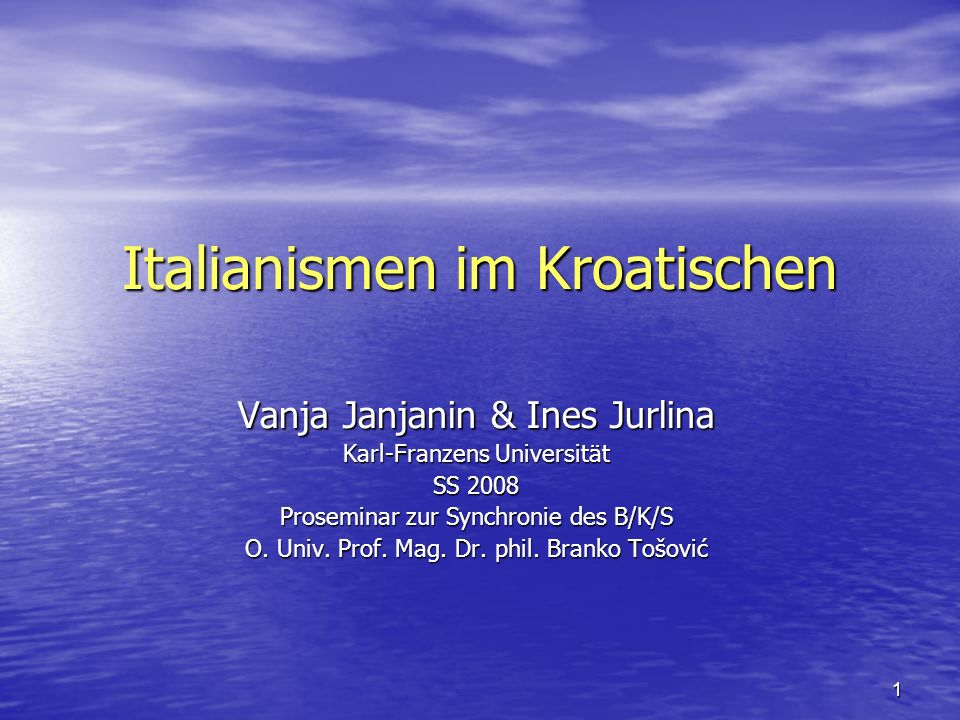 Italianismen im Kroatischen