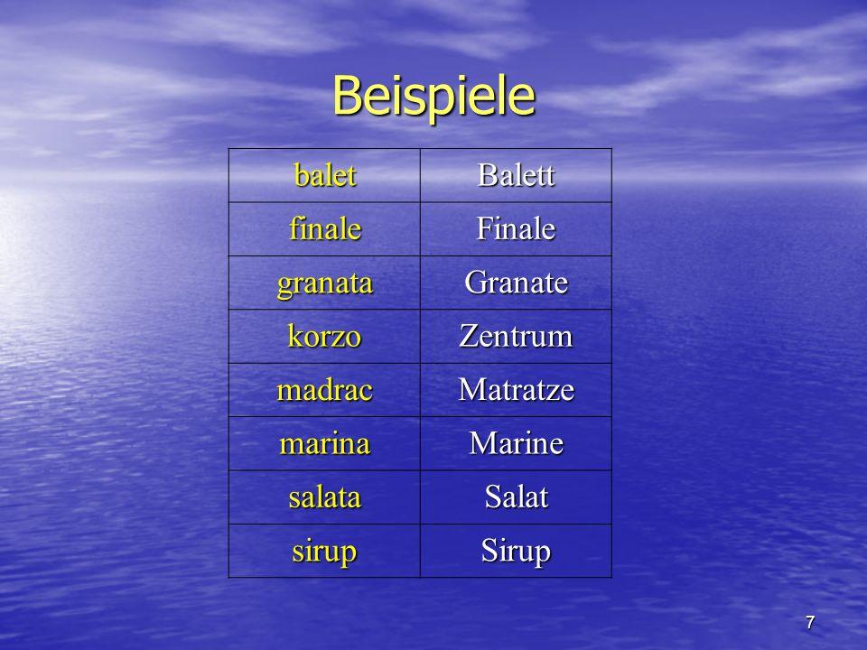 Beispiele balet Balett finale Finale granata Granate korzo Zentrum