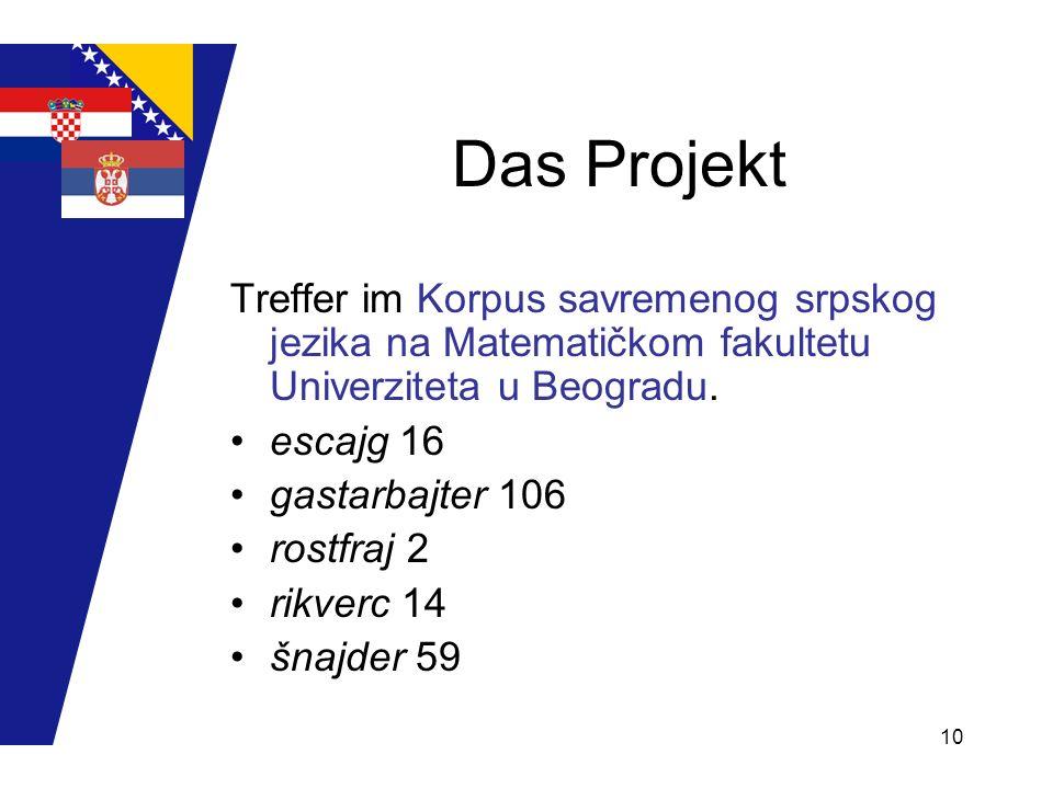Das Projekt Treffer im Korpus savremenog srpskog jezika na Matematičkom fakultetu Univerziteta u Beogradu.