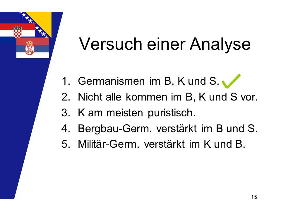 Versuch einer Analyse Germanismen im B, K und S.