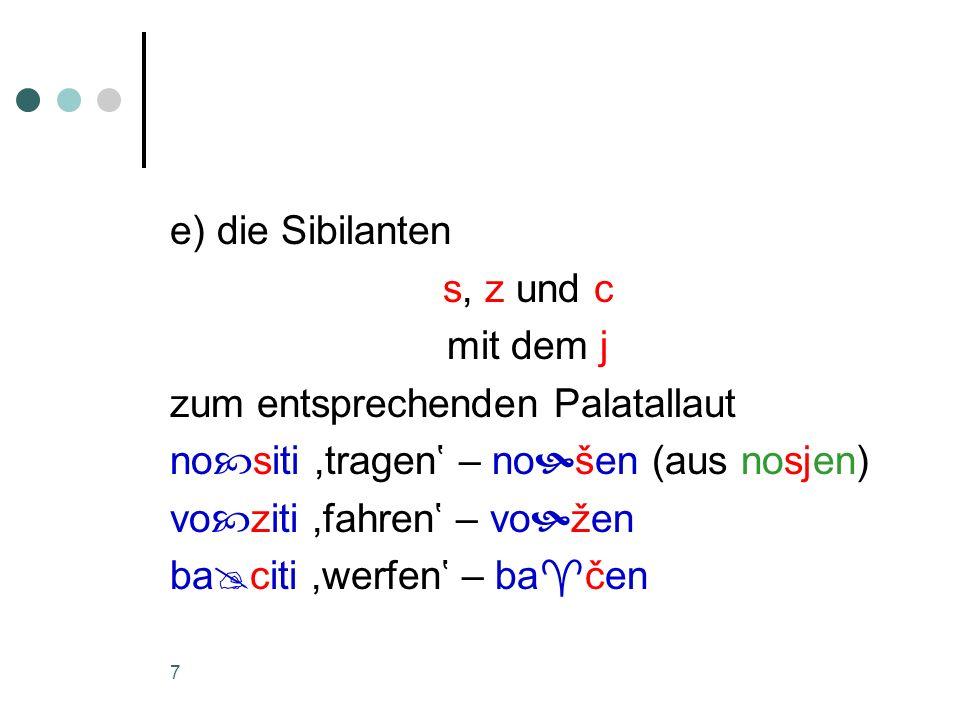 e) die Sibilanten s, z und c. mit dem j. zum entsprechenden Palatallaut. nositi ,tragen' – nošen (aus nosjen)