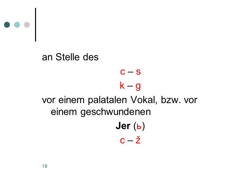an Stelle des c – s k – g vor einem palatalen Vokal, bzw. vor einem geschwundenen Jer (ь) c – ž