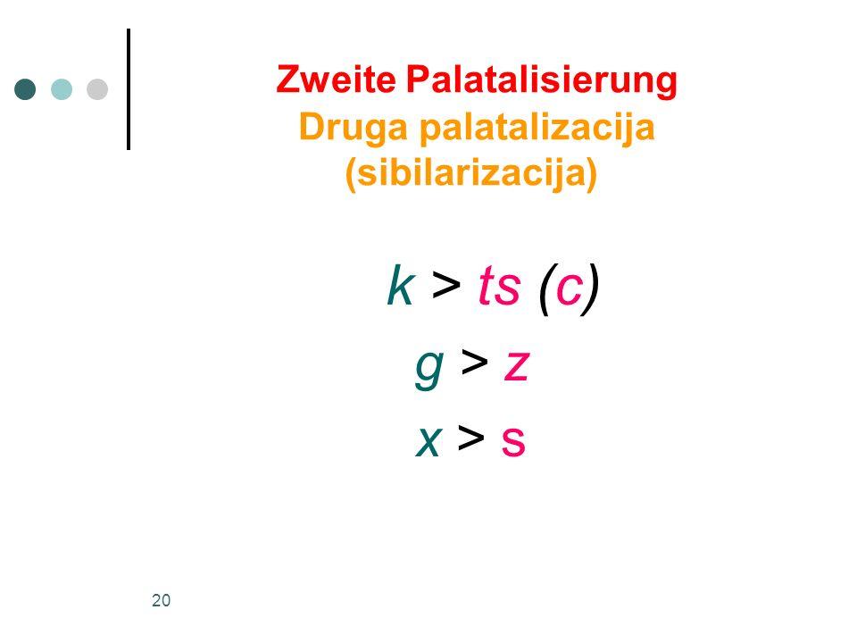 Zweite Palatalisierung Druga palatalizacija (sibilarizacija)
