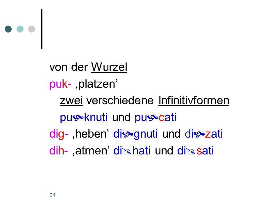 von der Wurzel puk- ,platzen' zwei verschiedene Infinitivformen. puknuti und pucati. dig- ,heben' dignuti und dizati.