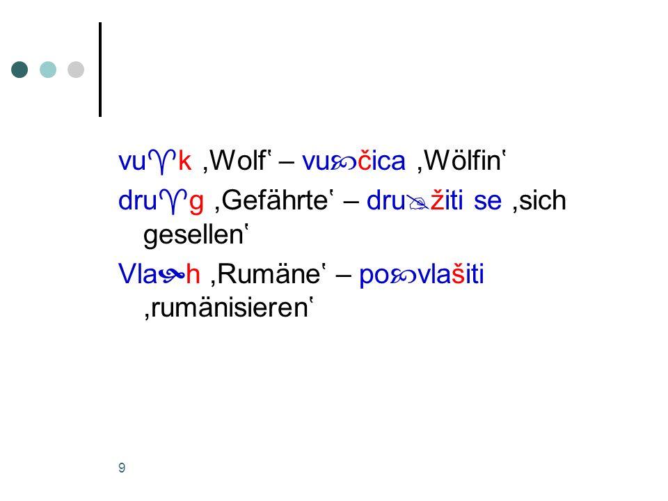 vuk ,Wolf' – vučica ,Wölfin'