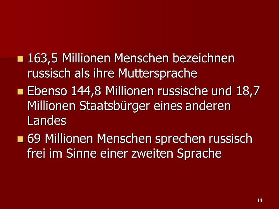 163,5 Millionen Menschen bezeichnen russisch als ihre Muttersprache