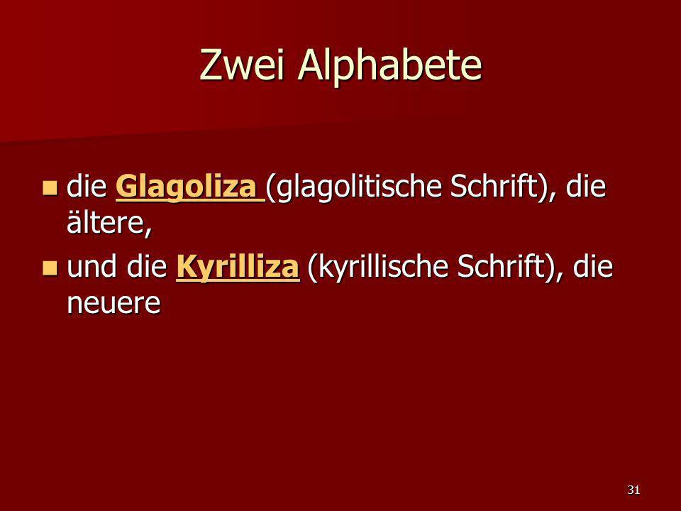 Zwei Alphabete die Glagoliza (glagolitische Schrift), die ältere,