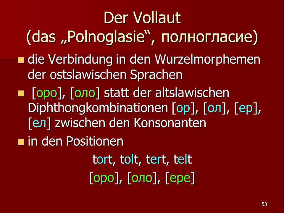 """Der Vollaut (das """"Polnoglasie , полногласие)"""
