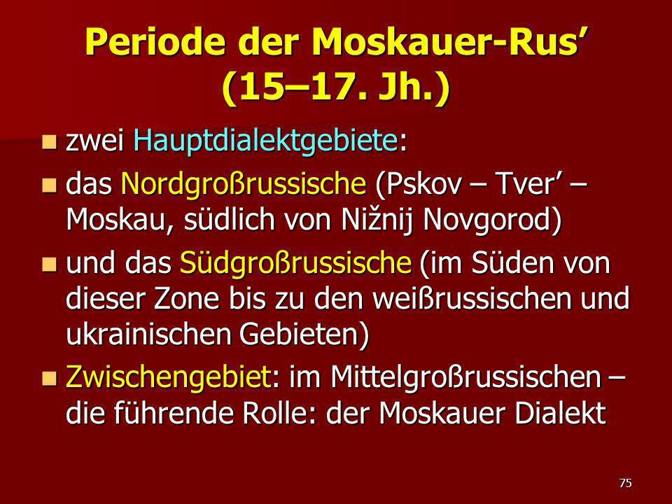 Periode der Moskauer-Rus' (15–17. Jh.)