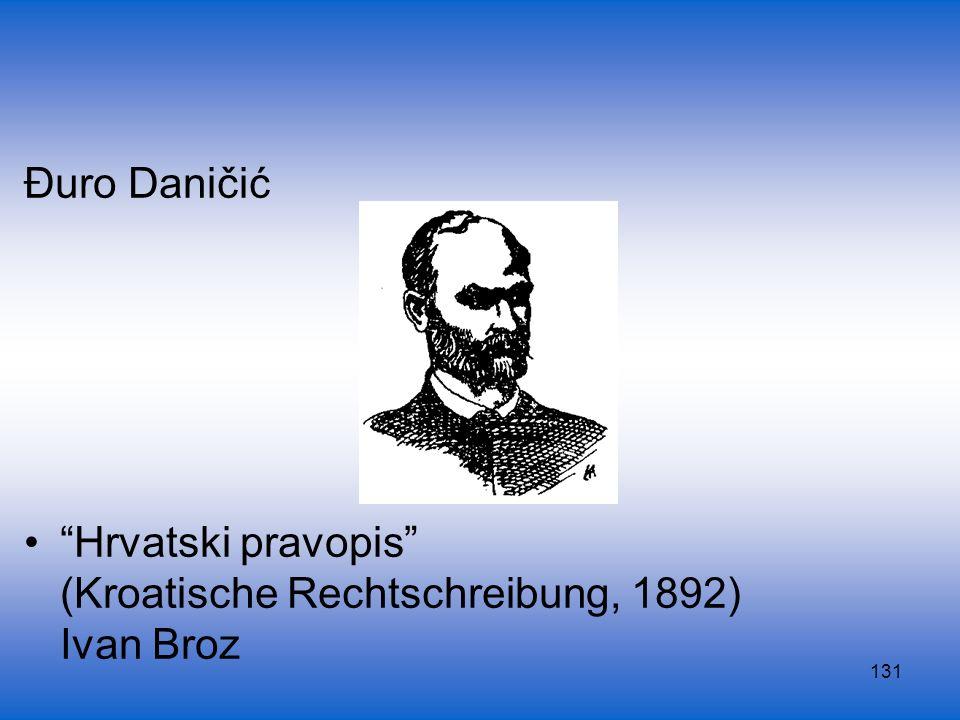 Đuro Daničić Hrvatski pravopis (Kroatische Rechtschreibung, 1892) Ivan Broz