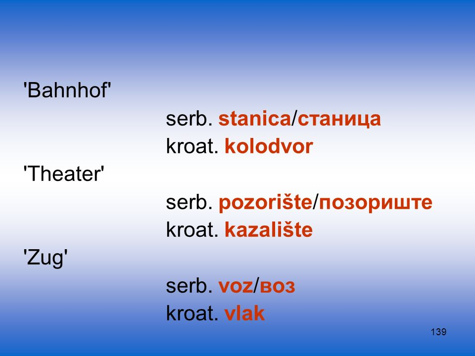 Bahnhof serb. stanica/станица. kroat. kolodvor. Theater serb. pozorište/позориште. kroat. kazalište.