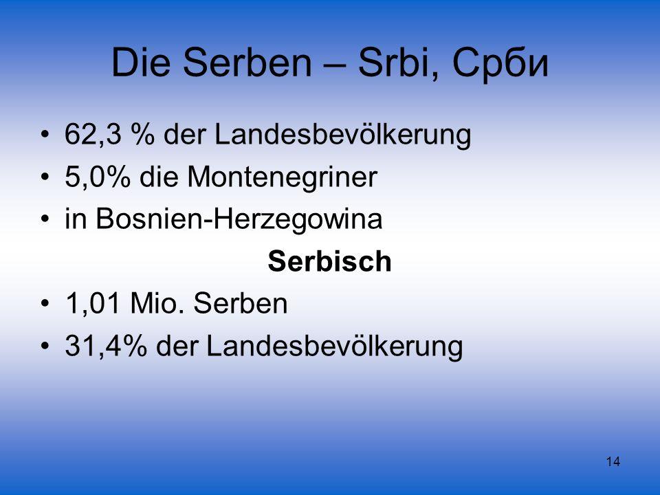 Die Serben – Srbi, Срби 62,3 % der Landesbevölkerung