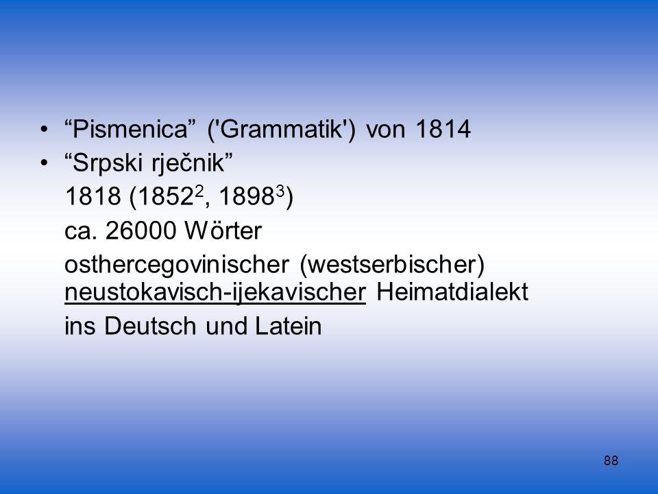 Pismenica ( Grammatik ) von 1814
