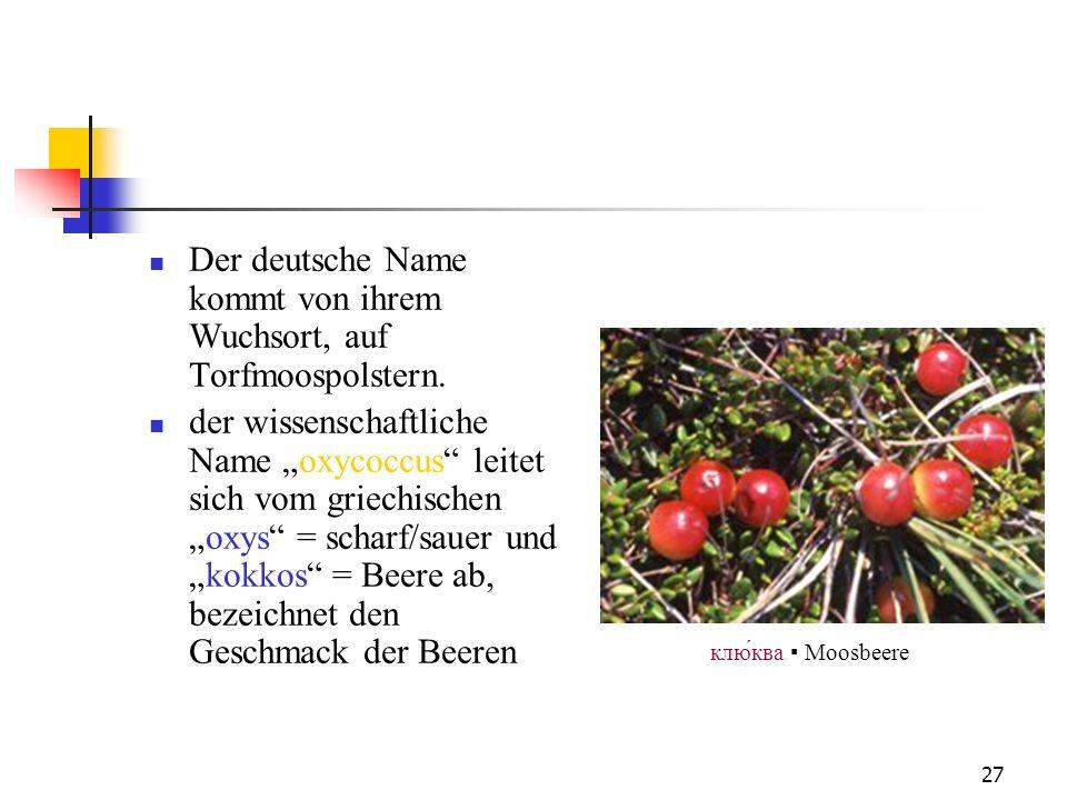 Der deutsche Name kommt von ihrem Wuchsort, auf Torfmoospolstern.