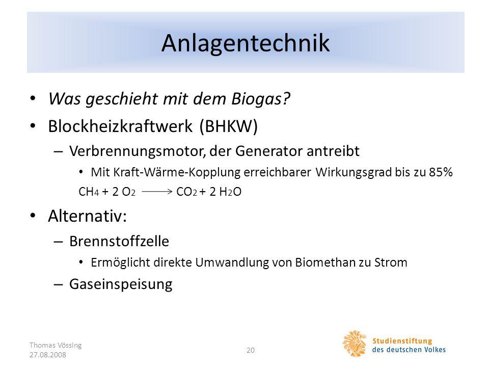 Anlagentechnik Was geschieht mit dem Biogas Blockheizkraftwerk (BHKW)