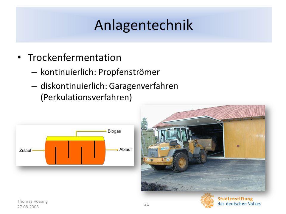 Anlagentechnik Trockenfermentation kontinuierlich: Propfenströmer