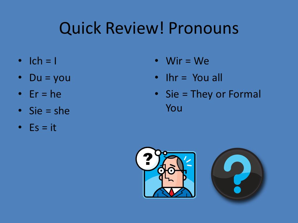 Quick Review! Pronouns Ich = I Du = you Er = he Sie = she Es = it