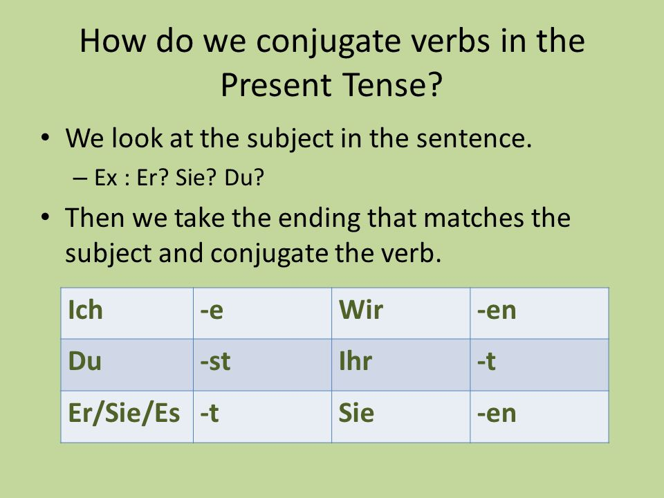How do we conjugate verbs in the Present Tense