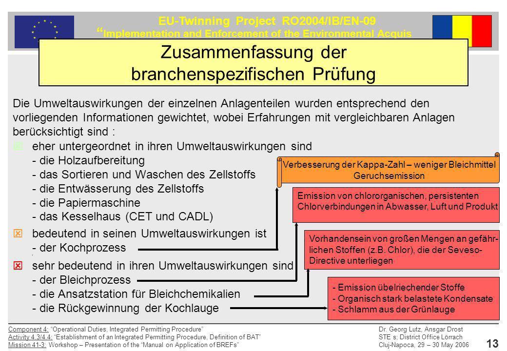 Zusammenfassung der branchenspezifischen Prüfung