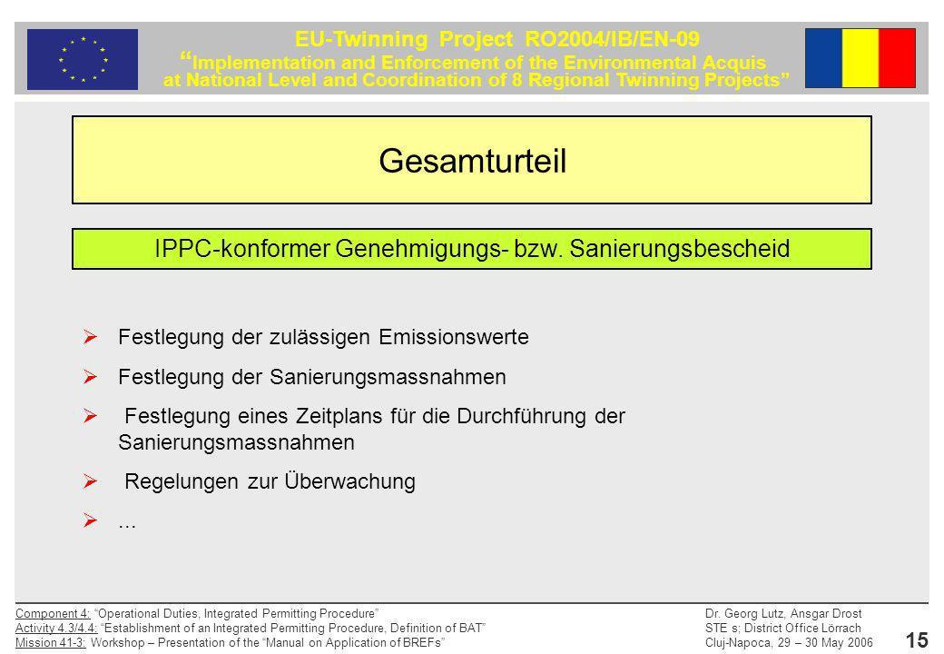IPPC-konformer Genehmigungs- bzw. Sanierungsbescheid