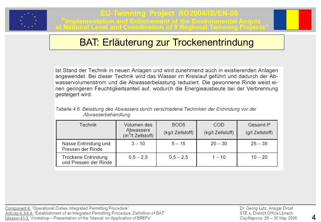 BAT: Erläuterung zur Trockenentrindung
