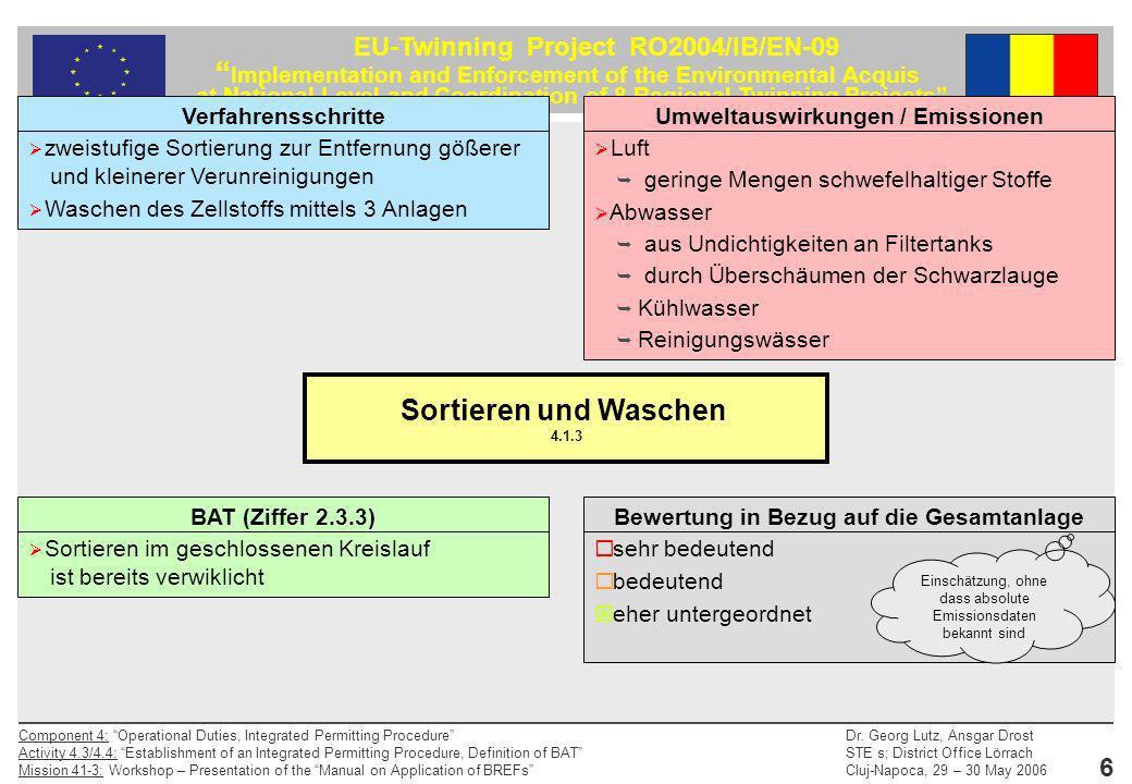 Sortieren und Waschen 4.1.3 Verfahrensschritte