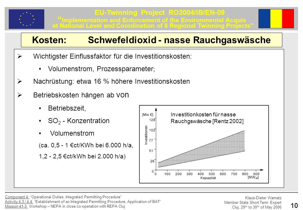 Kosten: Schwefeldioxid - nasse Rauchgaswäsche