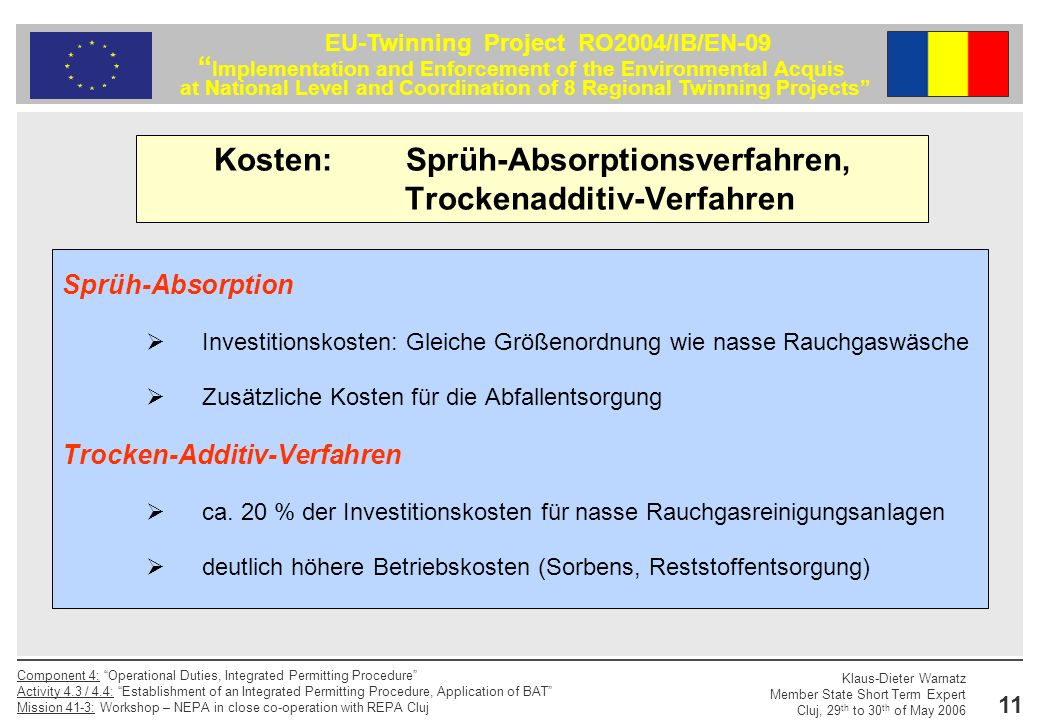 Kosten: Sprüh-Absorptionsverfahren, Trockenadditiv-Verfahren