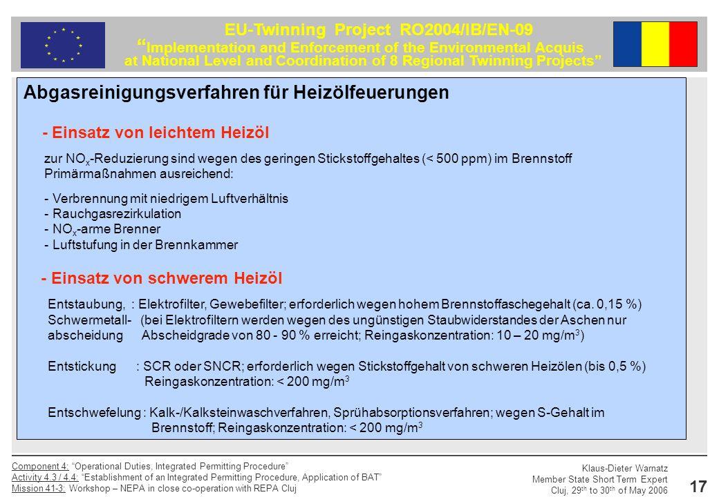 Abgasreinigungsverfahren für Heizölfeuerungen
