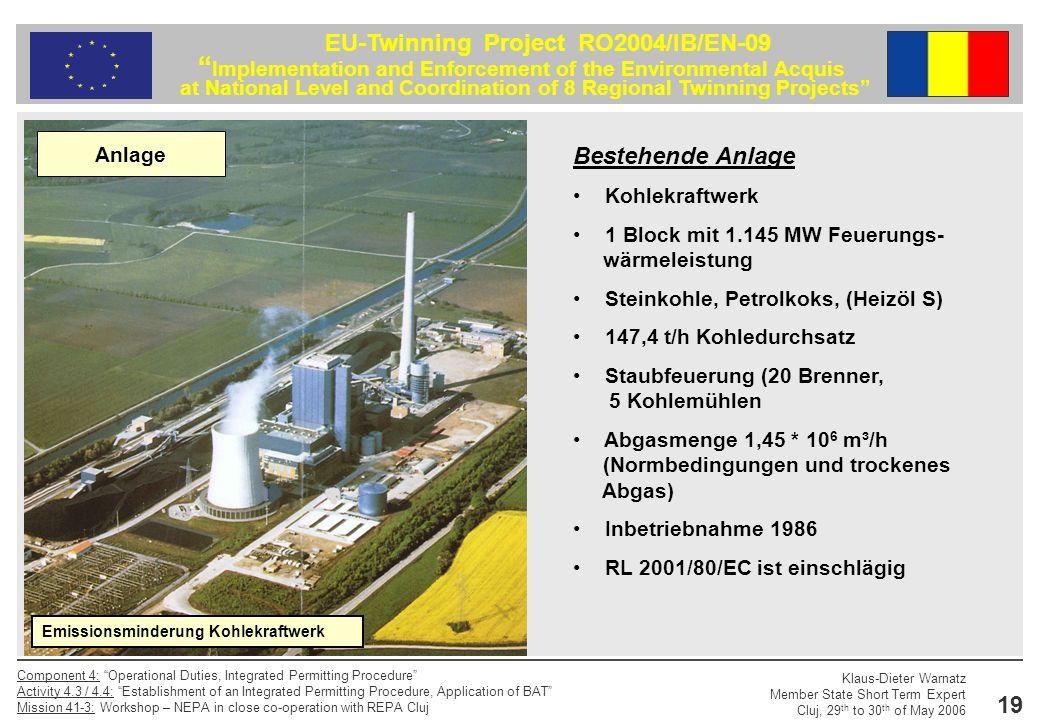 Bestehende Anlage Anlage Kohlekraftwerk