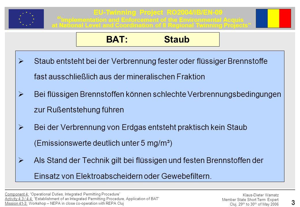 BAT: Staub Staub entsteht bei der Verbrennung fester oder flüssiger Brennstoffe fast ausschließlich aus der mineralischen Fraktion.