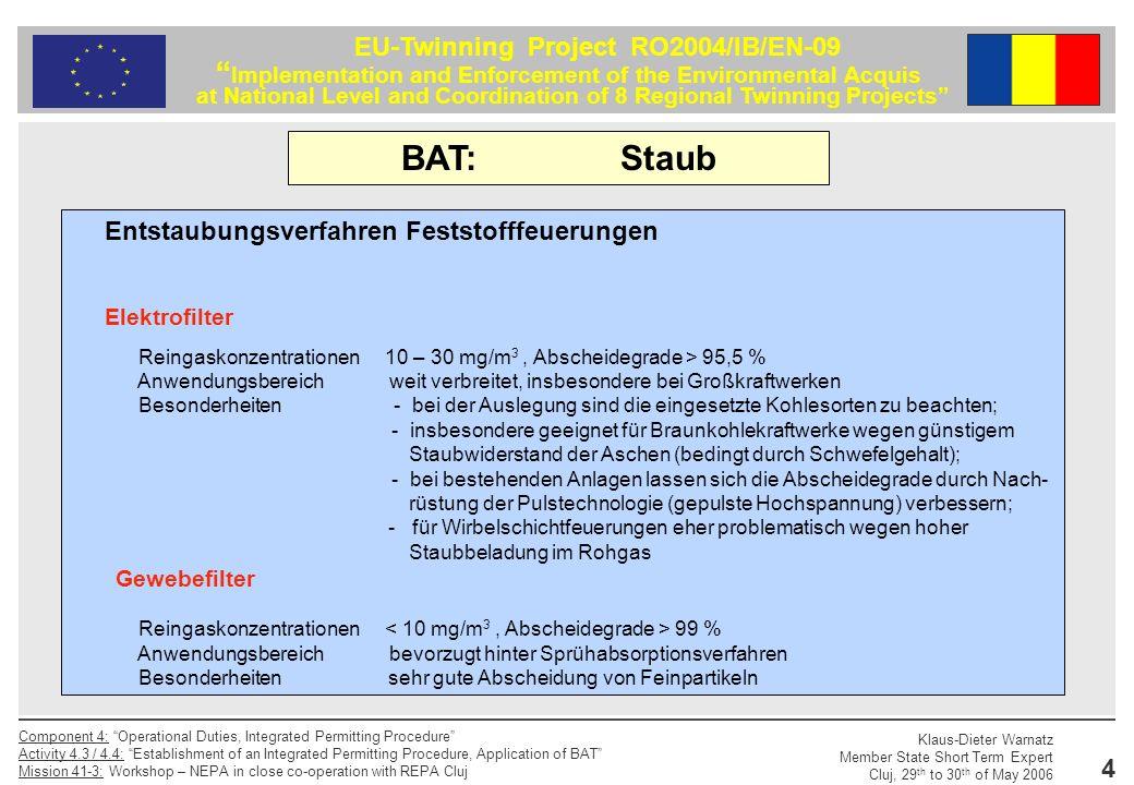 BAT: Staub Entstaubungsverfahren Feststofffeuerungen