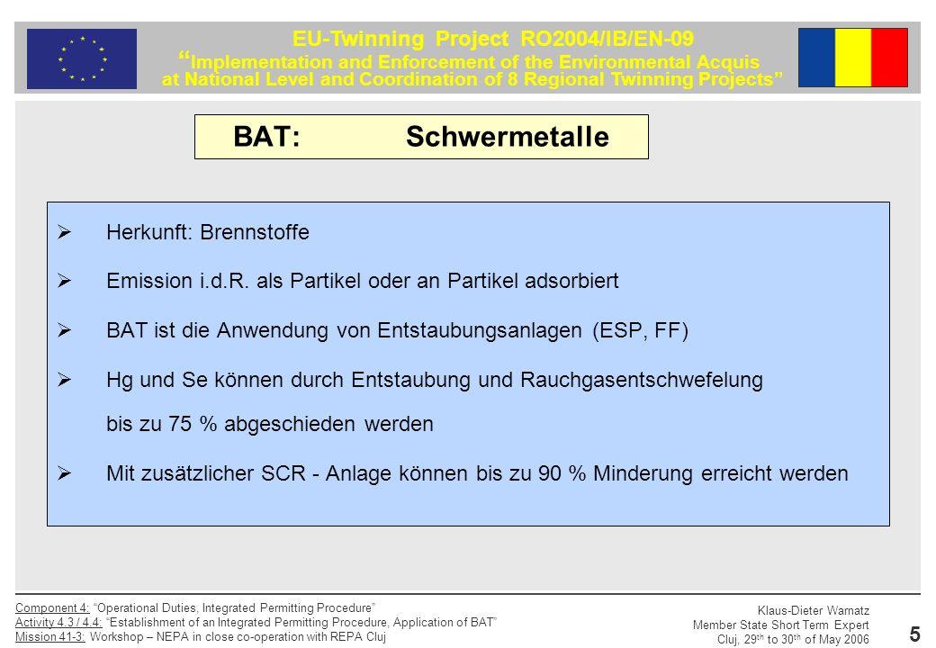 BAT: Schwermetalle Herkunft: Brennstoffe