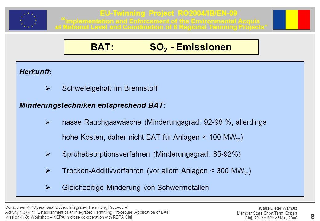 BAT: SO2 - Emissionen Herkunft: Schwefelgehalt im Brennstoff