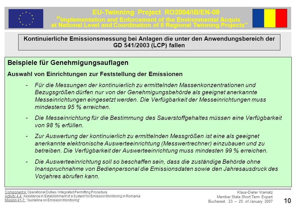 Beispiele für Genehmigungsauflagen
