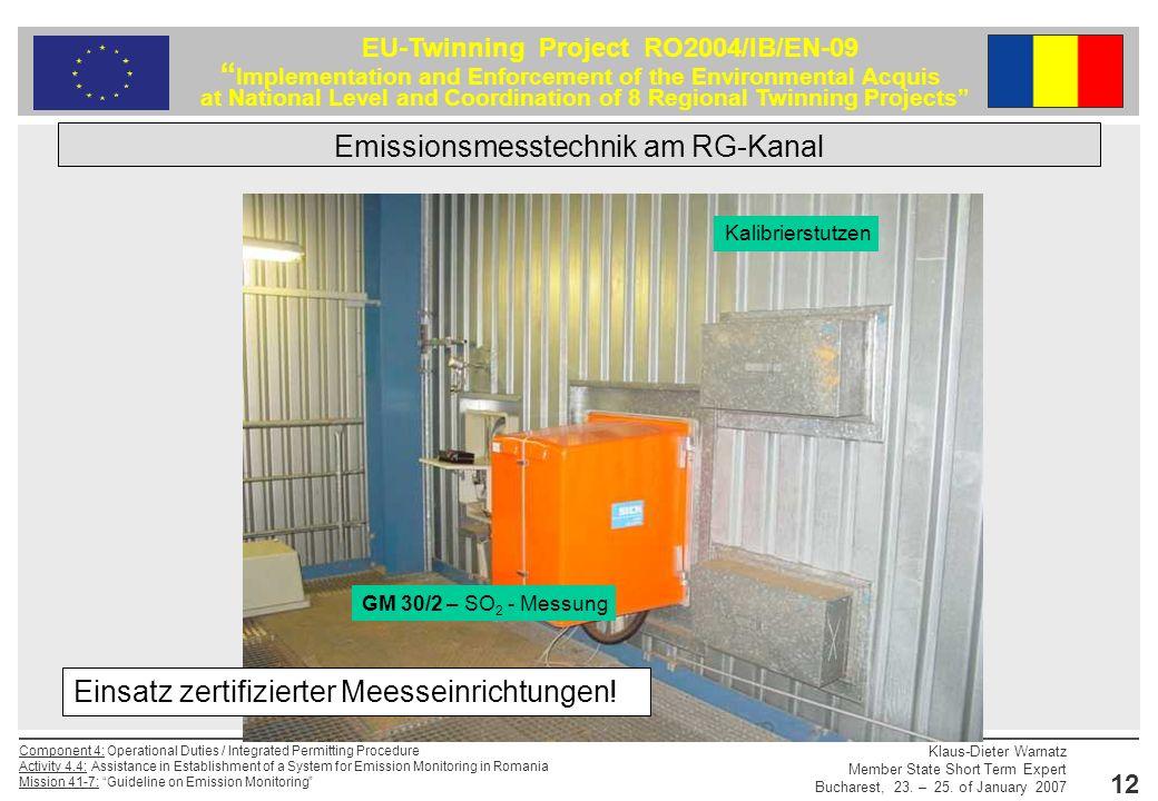 Emissionsmesstechnik am RG-Kanal