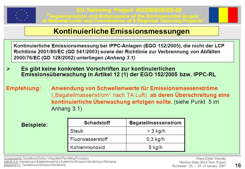 Kontinuierliche Emissionsmessungen