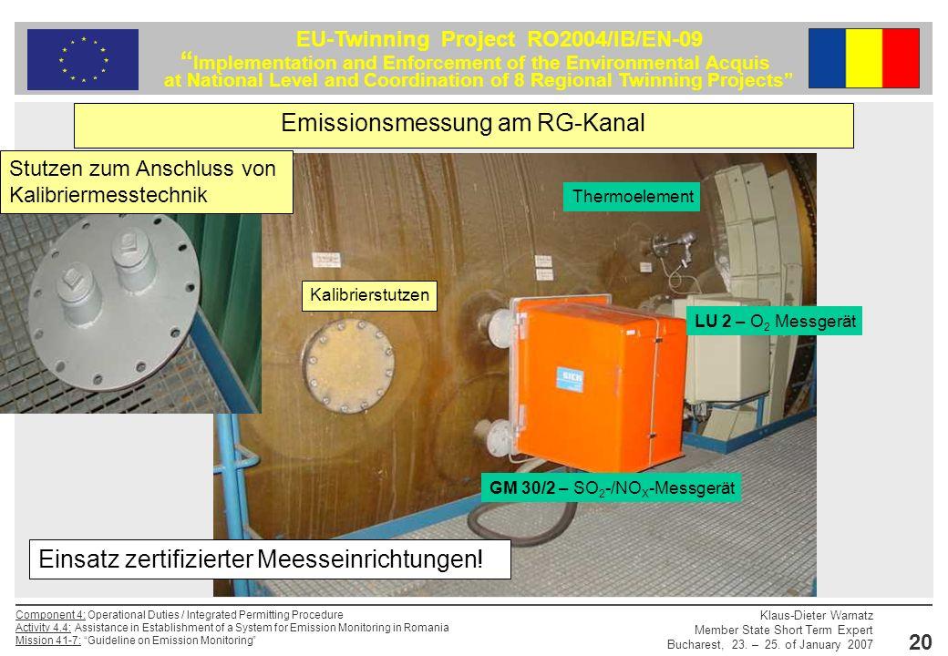 Emissionsmessung am RG-Kanal