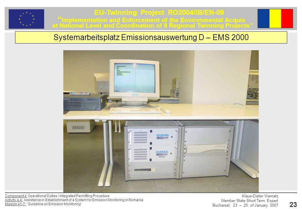 Systemarbeitsplatz Emissionsauswertung D – EMS 2000