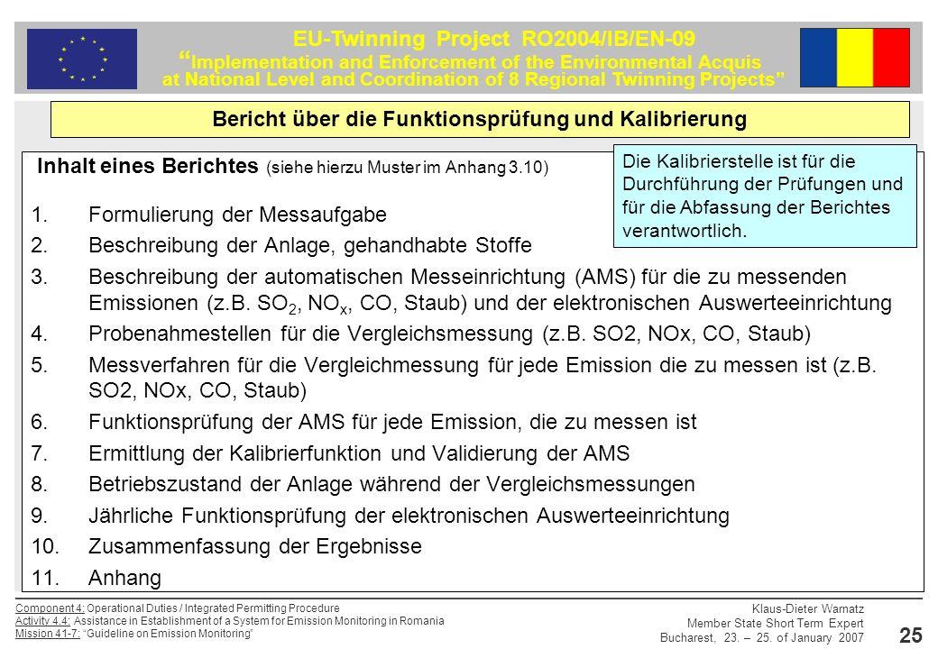 Bericht über die Funktionsprüfung und Kalibrierung