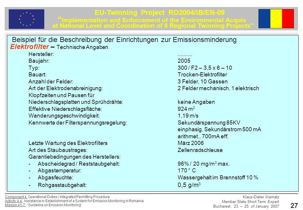 Beispiel für die Beschreibung der Einrichtungen zur Emissionsminderung