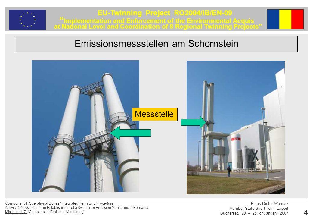 Emissionsmessstellen am Schornstein
