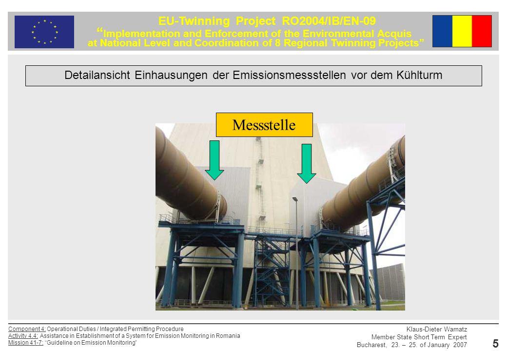 Detailansicht Einhausungen der Emissionsmessstellen vor dem Kühlturm