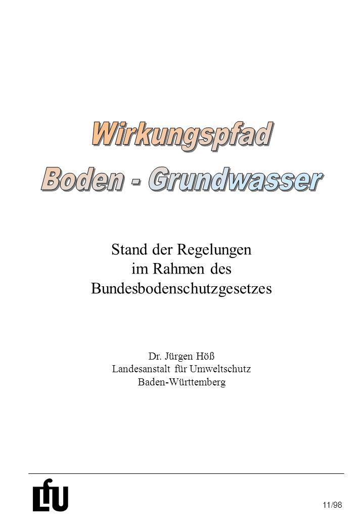 Wirkungspfad Boden - Grundwasser Stand der Regelungen im Rahmen des