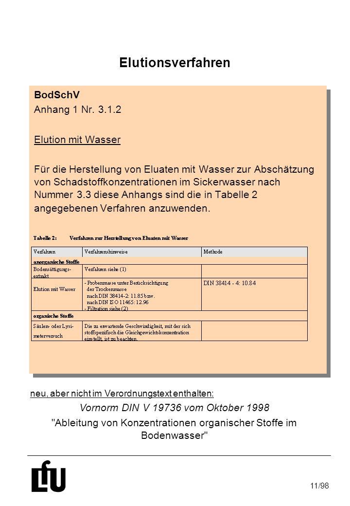 Elutionsverfahren BodSchV Anhang 1 Nr. 3.1.2 Elution mit Wasser