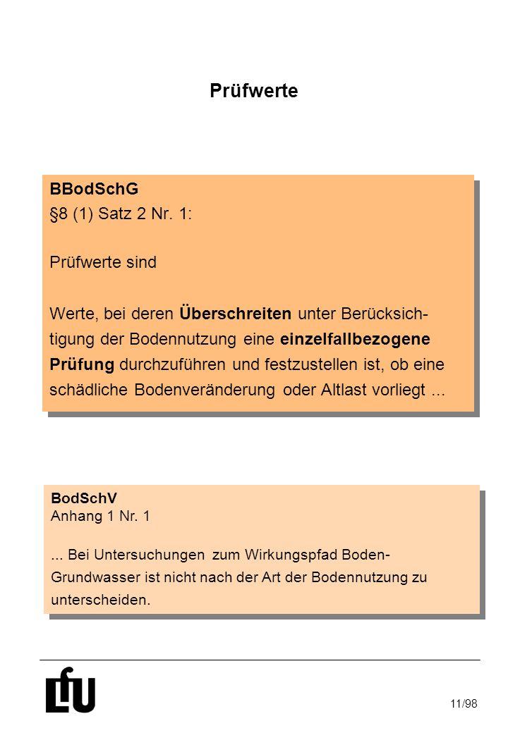 Prüfwerte BBodSchG §8 (1) Satz 2 Nr. 1: Prüfwerte sind