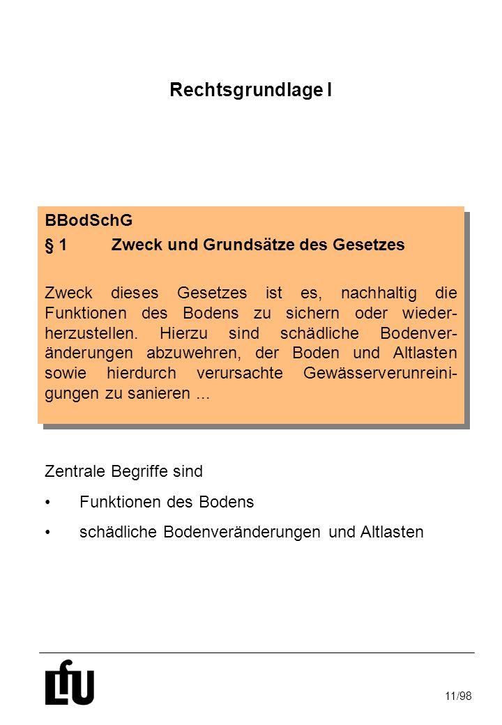 Rechtsgrundlage I BBodSchG § 1 Zweck und Grundsätze des Gesetzes